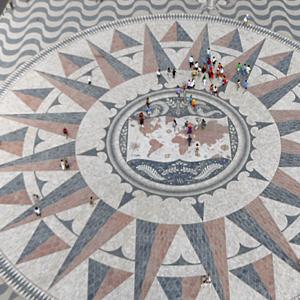 Auf einer riesigen Weltkarte werden die portugiesischen Entdeckungsfahrten aufgezeigt.